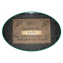MGB Register number plaque